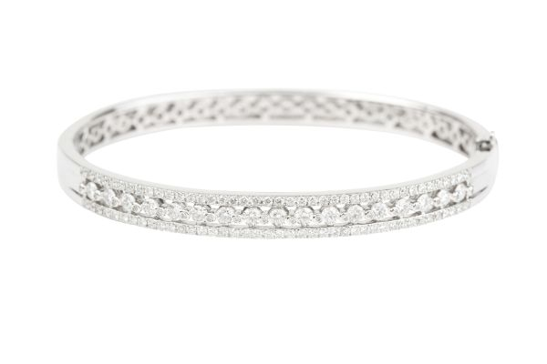 TP7707 Three Row Diamond set Oval Bangle in 18ct White Gold ( 2.22ct )