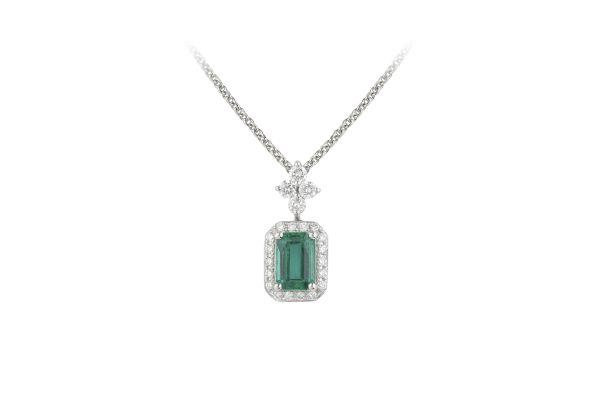 TP7905 Emerald & Diamond Drop Pendant & Chain in 18ct White Gold