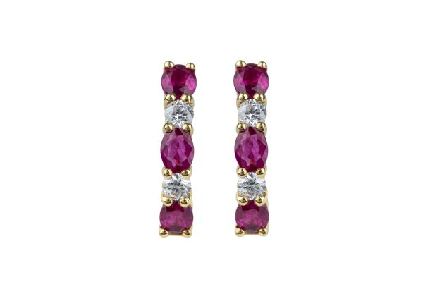 TP8609 Ruby & Diamond Hoop Earrings in 18ct Yellow Gold