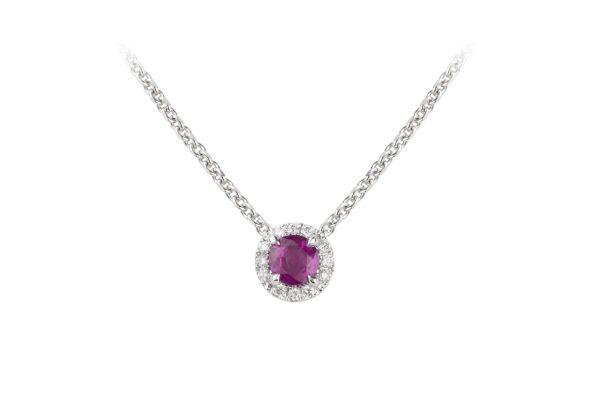 TP14919 Ruby & Diamond Cluster Pendant & Chain in 18ct White Gold