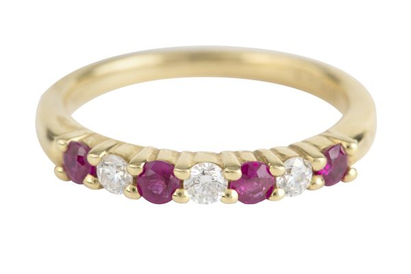 TP13552 Ruby & Diamond Half Eternity Ring in 18ct Yellow Gold