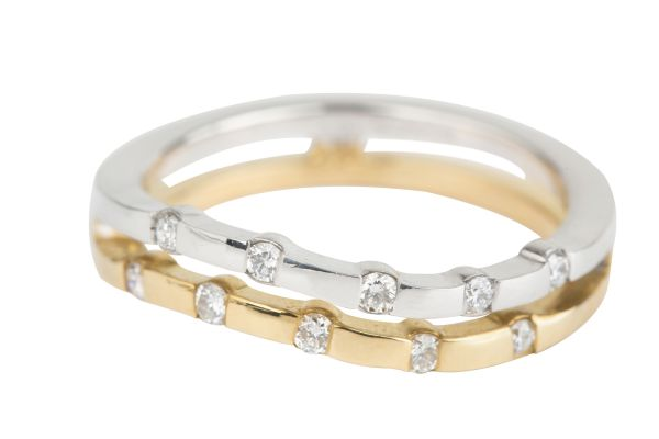 ER11516 Diamond Set Two Row Half Eternity Wave Style Ring in 18ct White & Yellow Gold (0.20ct)