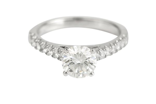 JW11507 Certificated Diamond Engagement Ring in Platinum (HRD 1.19ct F VVS 1; Total - 1.64ct)