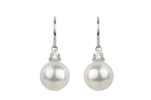 MA15607 Cultured Pearl & Diamond Earrings in 18ct White Gold