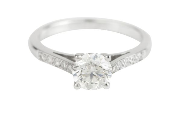 NCJ14511 Certificated Diamond Engagement Ring in Platinum (GIA 1.00ct G VS 1; Total - 1.12ct)
