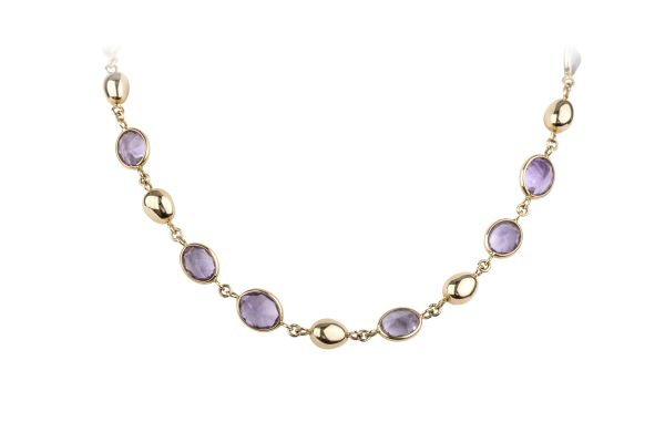 OP9810 Amethyst & Plain Bead Necklace in 18ct Rose Gold