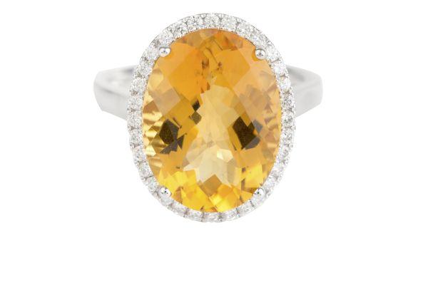 SB12513 Citrine & Diamond Oval Cluster Ring in 18ct White Gold ( Citrine - 8.02ct; Diamond - 0.30ct)