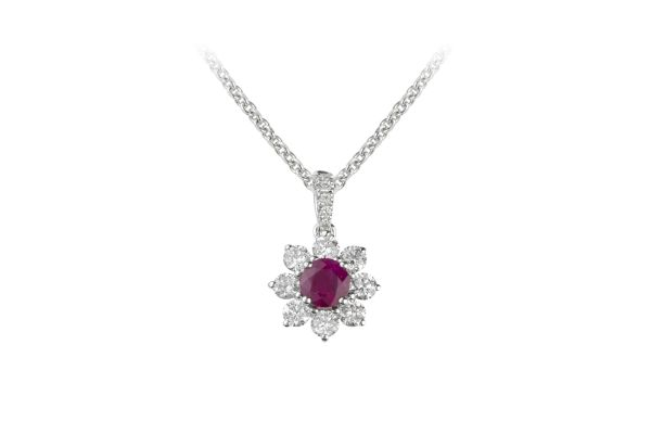 SB13905 Ruby & Diamond Round Cluster Pendant & Chain in 18ct White Gold