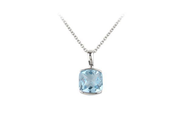SB15807 Blue Topaz Pendant & Chain in 18ct White Gold