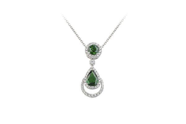 SB15809 Tsavorite & Diamond Fancy Pendant & Chain in 18ct White Gold