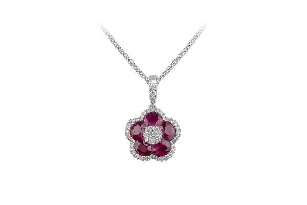 SB15810 Ruby & Diamond Pendant & Chain in 18ct White Gold