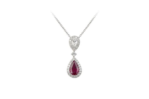 SB15811 Ruby & Diamond Drop Cluster Pendant & Chain in 18ct White Gold
