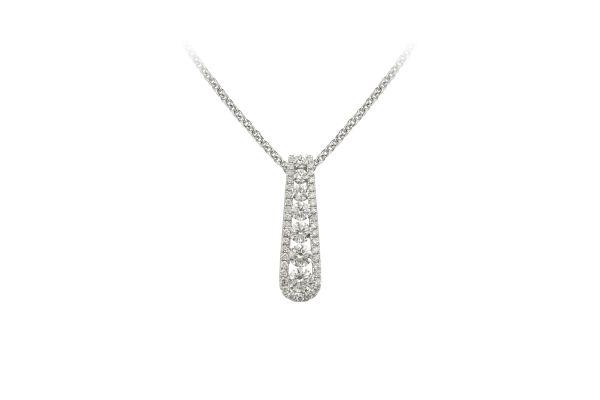 SE13923 Diamond Pendant & Chain in 18ct White Gold (0.72ct)