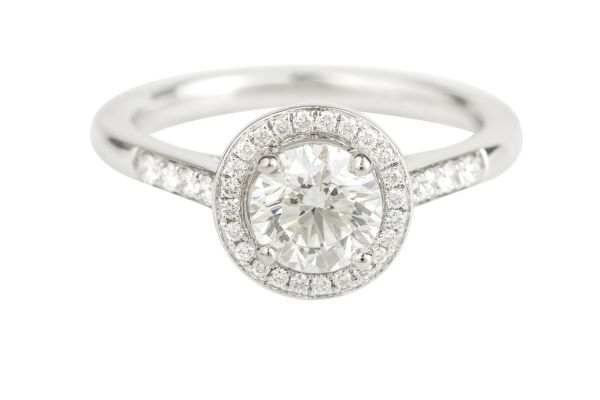 SN10501 Certificated Diamond Engagement Cluster Ring in Platinum (GIA 1.01ct G VS 2; Total - 1.22ct)