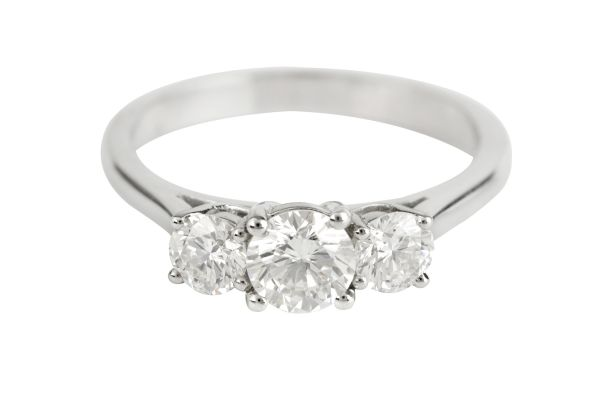 SN4517 Diamond Three Stone Ring in Platinum (1.03ct)