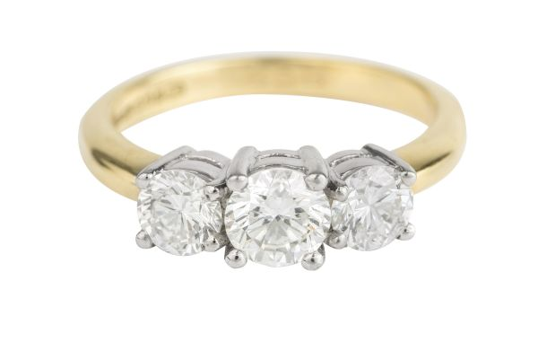 SN4518 Diamond Three Stone Ring in Platinum & 18ct Yellow Gold (1.56ct)