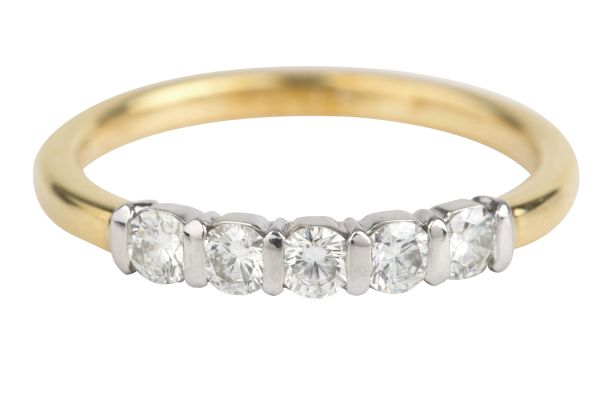 SN4530 Diamond Half Eternity Five Stone Ring in 18ct White & Yellow Gold (0.40ct)