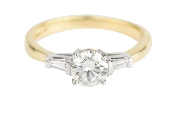 SN99505 Certificated Diamond Three Stone Engagement Ring in Platinum & 18ct Yellow Gold (Anchor 0.71ct F VS 1;  Total 0.83ct)