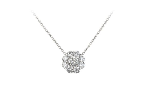 TP11813 Diamond Cluster Pendant & Chain in 18ct White Gold (0.88ct)