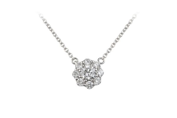 TP11814 Diamond Cluster Pendant & Chain in 18ct White Gold (0.38ct)