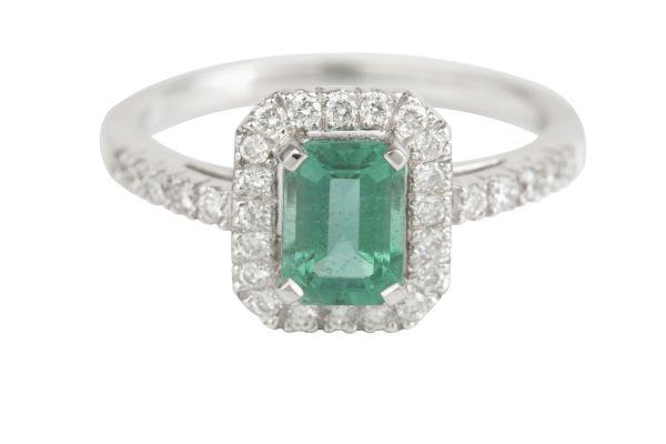 TP5513 Emerald & Diamond Rectangular Cluster Ring in 18ct White Gold