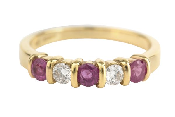 TP940576 Ruby & Diamond Half Eternity Ring in 18ct Yellow Gold