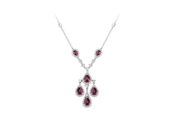 VG10830 Ruby & Diamond Vintage Necklace in 18ct White Gold