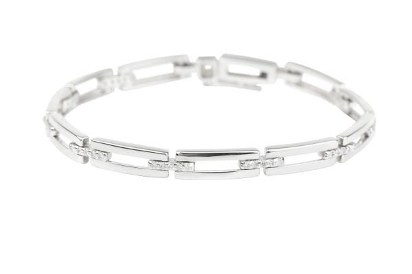 VJ5729 Rectangular Link Bracelet set with Diamonds in 18ct White Gold ( 0.70ct )