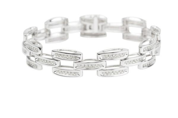 VL3748 Brick Link Diamond set Bracelet in 18ct White Gold ( 3.78ct )